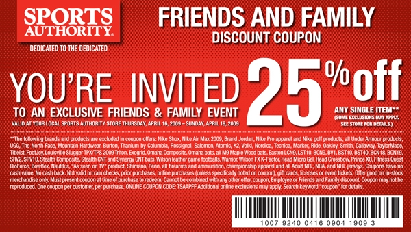 Get in the savings game with these 4 Sports Authority coupons, promo codes and in-store printable coupons for December. Save on everything from on-field equipment to fan gear. As one of the nation's largest sporting goods and outdoor retailers, Sports Authority is packed with all of the equipment and apparel you're looking for.